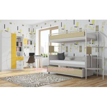 Двухъярусная кровать DJ-03 (с 3-м спальным местом) Эдисан 80х190 Бежевый ЛДСП