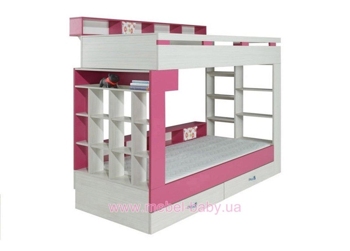Двухъярусная кровать KM 14 Meblar Meblar 90х200 Розовый ЛДСП