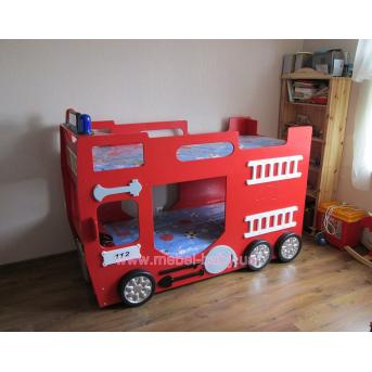 Двухярусная Кровать-машинка с матрасом Пожарная машина Plastiko
