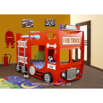 Двухъярусная Кровать-машинка с матрасом Пожарная машина Plastiko