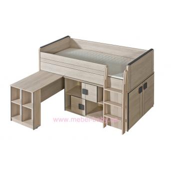 Кровать с выдвижным столом лесенкой и комодом G19 Dolmar
