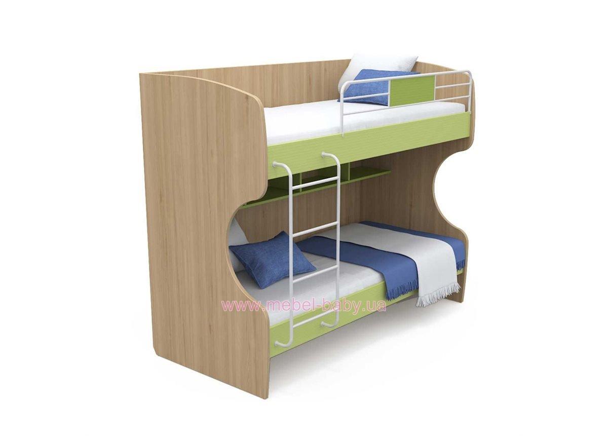 Двухъярусная кровать кв-12 Акварели Зеленые