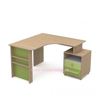 Письменный стол угловой кв-08-2 Акварели Зеленые