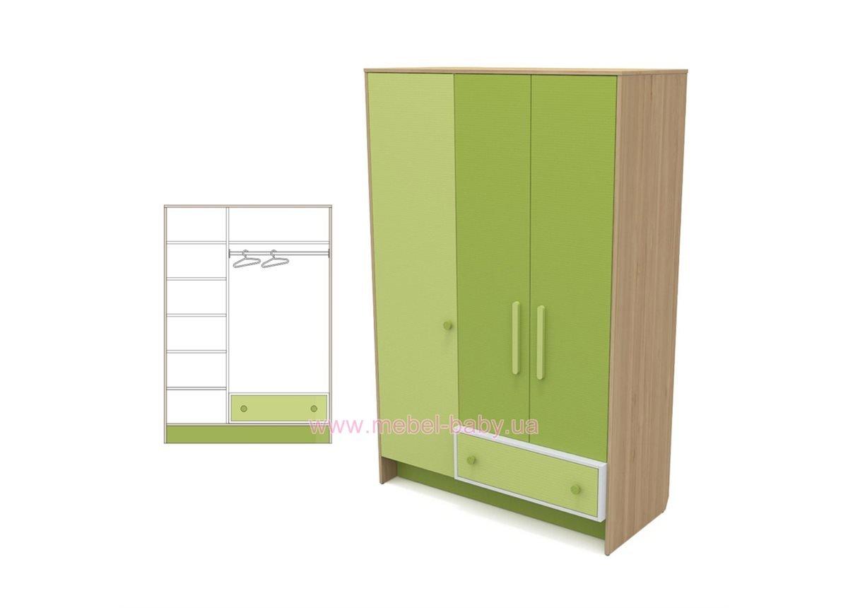 Трехдверный шкаф кв-03 Акварели Зеленые