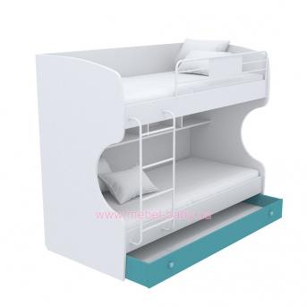 Выдвижной ящик для двухъярусной кровати большой кв-13-12 Акварели Бирюзовые