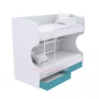 Выдвижной ящик для двухъярусной кровати маленький кв-15-12 Акварели Бирюзовые