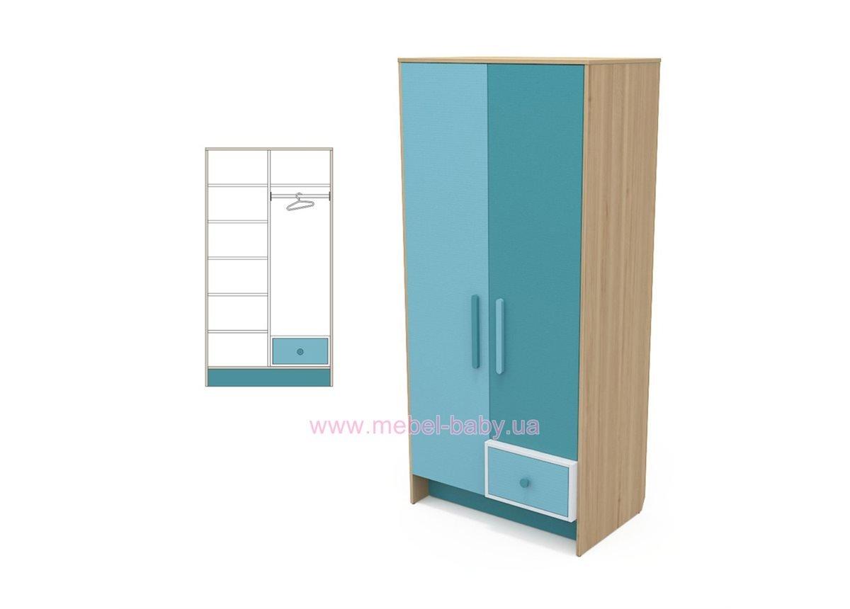 Двухдверный шкаф кв-02 Акварели Бирюзовые