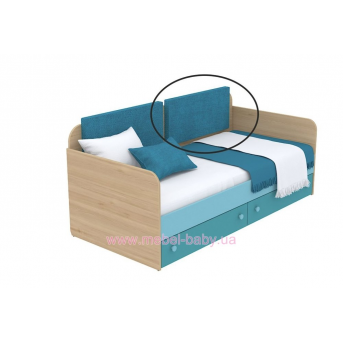 Мягкая накладка для кровати-дивана кв-11-4n Акварели Бирюзовые