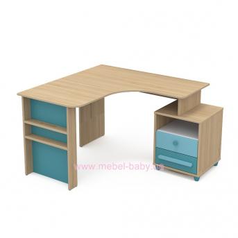 Письменный стол угловой кв-08-2 Акварели Бирюзовые