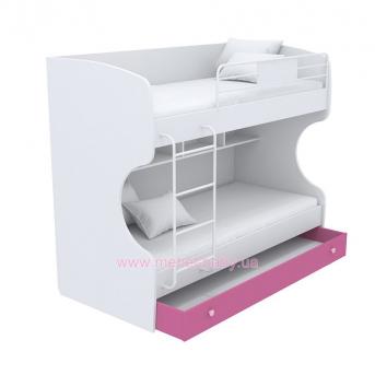 Выдвижной ящик для двухъярусной кровати большой кв-13-12 Акварели Розовые