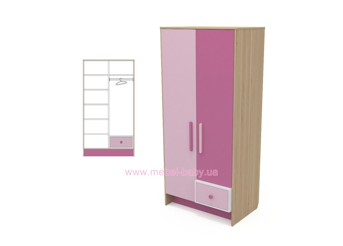 Двухдверный шкаф кв-02 Акварели Розовые