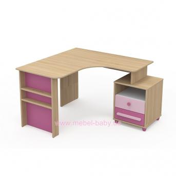 Письменный стол угловой кв-08-2 Акварели Розовые