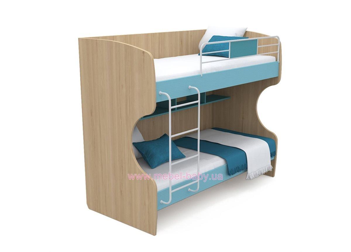 Двухъярусная кровать кв-12 Акварели Бирюзовые
