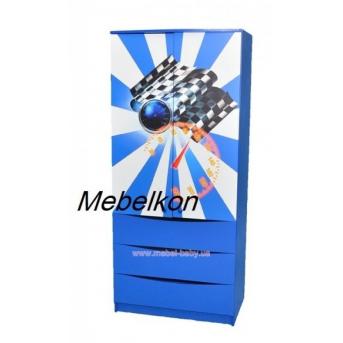 Шкаф Машинки синий 182x80x50